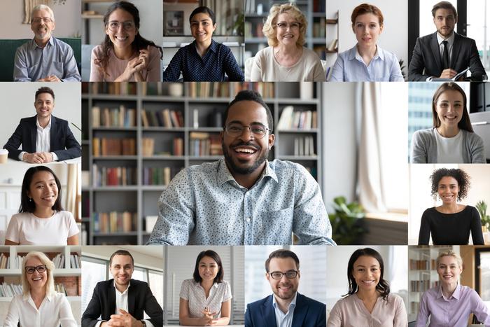 Group attending an online meeting